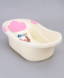 Medium Size Baby Bath Tub Animal Print - Pink White