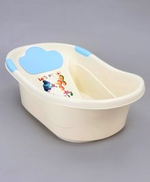 Medium Size Baby Bath Tub with Sea Animal Print - Blue White