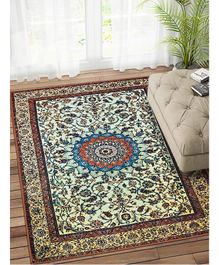 Status Floral Printed Vintage Persian Carpet Rug Runner With Anti Slip Backing Small - Blue & Multicolor