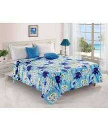 Status Double Poly Mink Blanket Floral Print - Blue