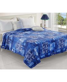 Status Double Poly Mink Blanket Abstract Print - Blue