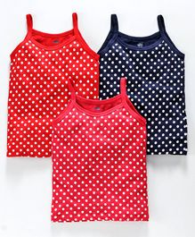Simply Singlet Slips Polka Dots Print Pack of 3 - Pink Red Blue