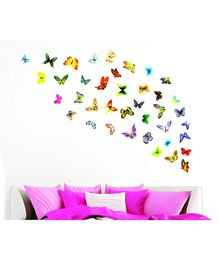 Syga Decorative Butterfly Wall Sticker Pack Of 42 - Multicolor