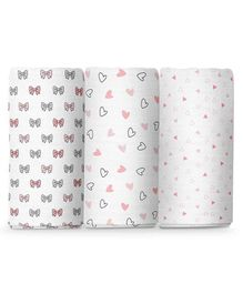 The White Cradle 100% Organic Cotton Large Swaddle Wraper Pack of 3 - White Pink Grey