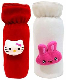 Brandonn Velvet Shearing Soft Bottle Cover With Motif White Red Pack of 2 - Fits upto 250 ml each