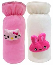 Brandonn Velvet Shearing Soft Bottle Cover With Motif White Pink Pack of 2 - Fits upto 250 ml each