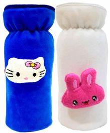 Brandonn Velvet Shearing Soft Bottle Cover With Motif White Royal Blue Pack of 2 - Fits upto 250 ml each