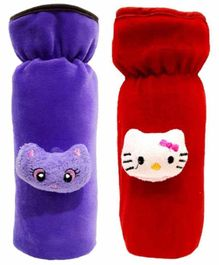 Brandonn Velvet Shearing Soft Bottle Cover With Motif Red Purple Pack of 2 - Fits up to 250 ml