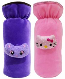 Brandonn Velvet Shearing Soft Bottle Cover With Motif Pink Purple Pack of 2 - Fits up to 250 ml