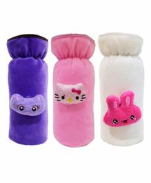 Brandonn Velvet Shearing Soft Bottle Cover With Motif White Purple Pink Pack of 3 - Fits up to 250 ml