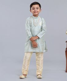 Dapper Dudes Full Sleeves Motif Embroidered Kurta With Pajama - Light Blue