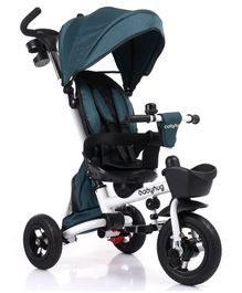 Babyhug Prodigy Tricycle with Parent Push Handle & Canopy - Green