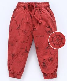 Cucumber Cotton Poplin Full Length Jogger Trouser With Drawstring Map Print - Red