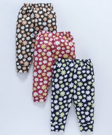 Cucumber Full Length Lounge Pants Floral Print Pack of 3 - Navy Blue Red Brown