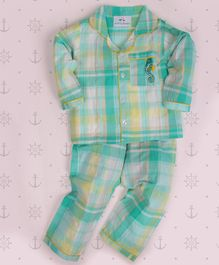 Knitting Doodles Sea Horse Embroidered Full Sleeves Checkered Night Suit - Sea Green