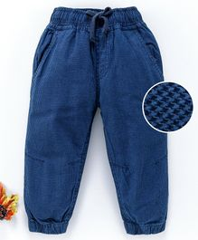 Cucumber Full Length Corduroy Jogger With Drawstring - Navy  Blue