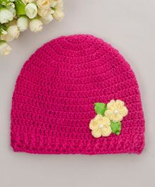 Buttercup from KnittingNani Flower Detailed Cap - Dark Pink