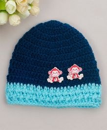 Buttercup from KnittingNani Monkey Applique Cap - Blue