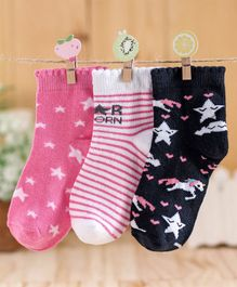 Cute Walk by Babyhug Ankle Length Non Terry Anti-bacterial Stripes & Stars Design Socks Pack of 3 Pairs - Pink Black