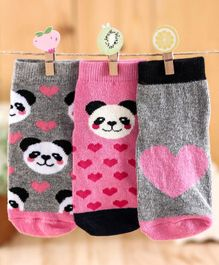 Cute Walk By Babyhug Antibacterial Ankle Length Socks Pack Of 3 - Pink Grey