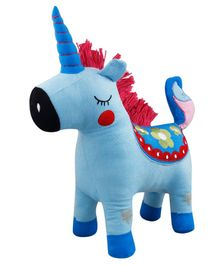 Little Hug Unicorn Soft Toy Blue - Height 35 cm