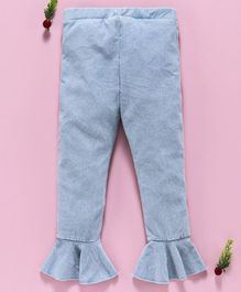 LC Waikiki Solid Full Length Ruffled Hem Pants - Light Blue
