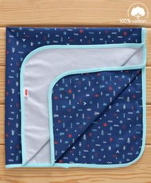 Babyhug Cotton Diaper Changing Mat and Bed Protector - Navy Blue