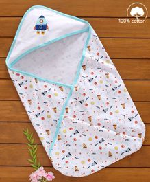 Babyhug Cotton Hooded Wrapper Space Print - Blue