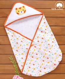 Babyhug Cotton Hooded Wrapper Bear Print - Orange