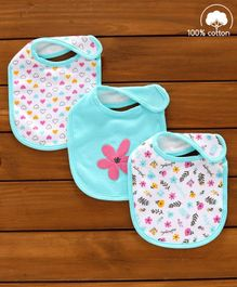 Babyhug Cotton Bibs Flower Embroidery Set of 3 - Green & White