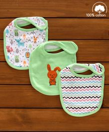 Babyhug Cotton Bibs Animal Embroidery Set of 3 - Green & White