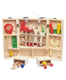 Wufiy Wooden Tool Box and Accessories Set - Multicolour