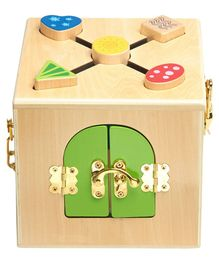 Wufiy Wooden Small Activity Box With Latches and Shape Sorter - Multicolour