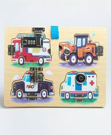 Wufiy Wooden Vehicle Theme Activity Board Latches and Locks - Multicolour