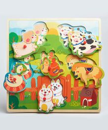 Wufiy Wooden Farm Animal Peg Cum Shape Sorter Puzzle With Sound Effects Multicolour - 6 Pieces