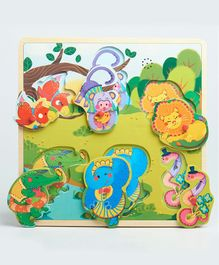 Wufiy Wooden Wild Animal Peg Puzzle With Sound Effects Multicolour - 6 Pieces