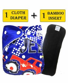 Babymoon Free Size Reusable Cloth Diaper With Insert Jeep Print - Blue