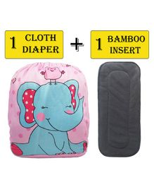 Babymoon Free Size Reusable Cloth Diaper With Insert Elephant Print - Pink