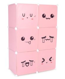 6 Compartments Printed Storage Unit - Pink