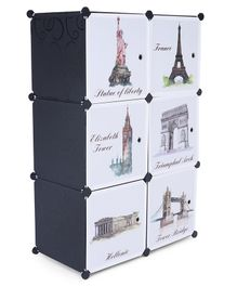 6 Compartments Printed Storage Unit - Black