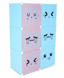 6 Compartments Printed Storage Unit - Pink Blue