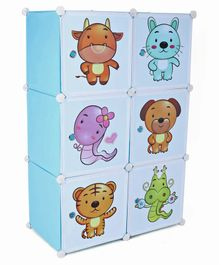 6 Compartments Printed Storage Unit - Blue