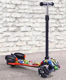 Babyhug Three Wheel Kids Scooter with LED Lights - Black Yellow