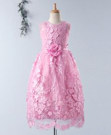 Enfance Floral Applique Sleeveless Gown - Pink