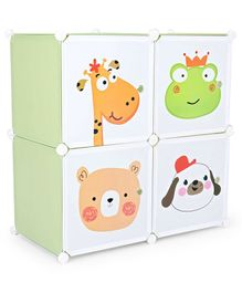 4 Compartment Printed Storage Unit - Green