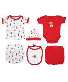 VParents Honey Punch New born Baby Gift Set Red - Pack of 6