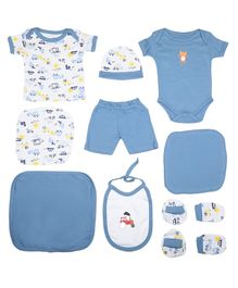 VParents Honey Punch New born Baby Gift Set Blue - Pack of 10
