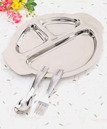 Babyhug Stainless Steel Section Plate Set With Spoon And Fork - Silver
