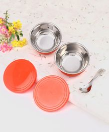 Babyhug Stainless Steel Spill Proof Bowl Set Of 2 With Spoon - Red