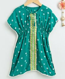 Neha Gursahani Half Sleeves Bandhani Print Dress - Green